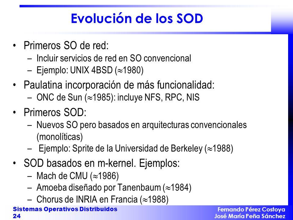Fernando Pérez Costoya José María Peña Sánchez Sistemas Operativos Distribuidos 24 Evolución de los SOD Primeros SO de red: –Incluir servicios de red