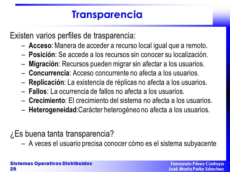 Fernando Pérez Costoya José María Peña Sánchez Sistemas Operativos Distribuidos 29 Transparencia Existen varios perfiles de trasparencia: – Acceso : M