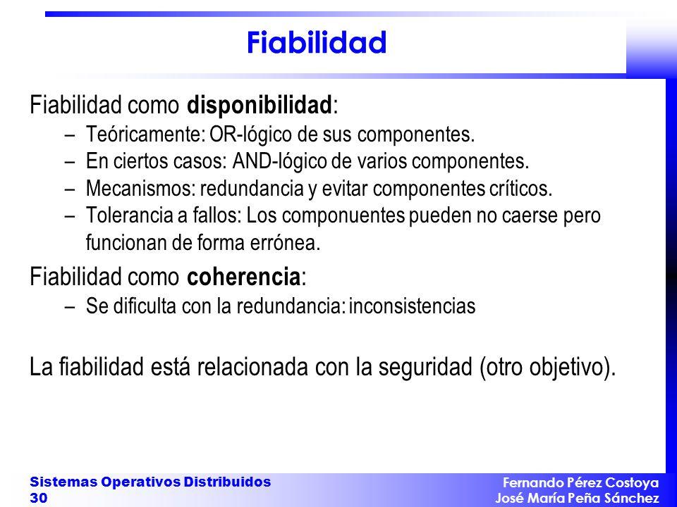 Fernando Pérez Costoya José María Peña Sánchez Sistemas Operativos Distribuidos 30 Fiabilidad Fiabilidad como disponibilidad : –Teóricamente: OR-lógic