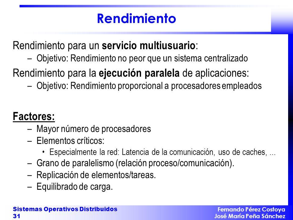 Fernando Pérez Costoya José María Peña Sánchez Sistemas Operativos Distribuidos 31 Rendimiento Rendimiento para un servicio multiusuario : –Objetivo: