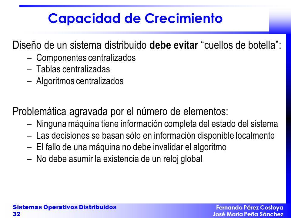 Fernando Pérez Costoya José María Peña Sánchez Sistemas Operativos Distribuidos 32 Capacidad de Crecimiento Diseño de un sistema distribuido debe evit