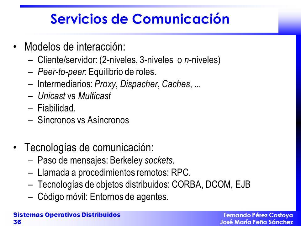 Fernando Pérez Costoya José María Peña Sánchez Sistemas Operativos Distribuidos 36 Servicios de Comunicación Modelos de interacción: –Cliente/servidor