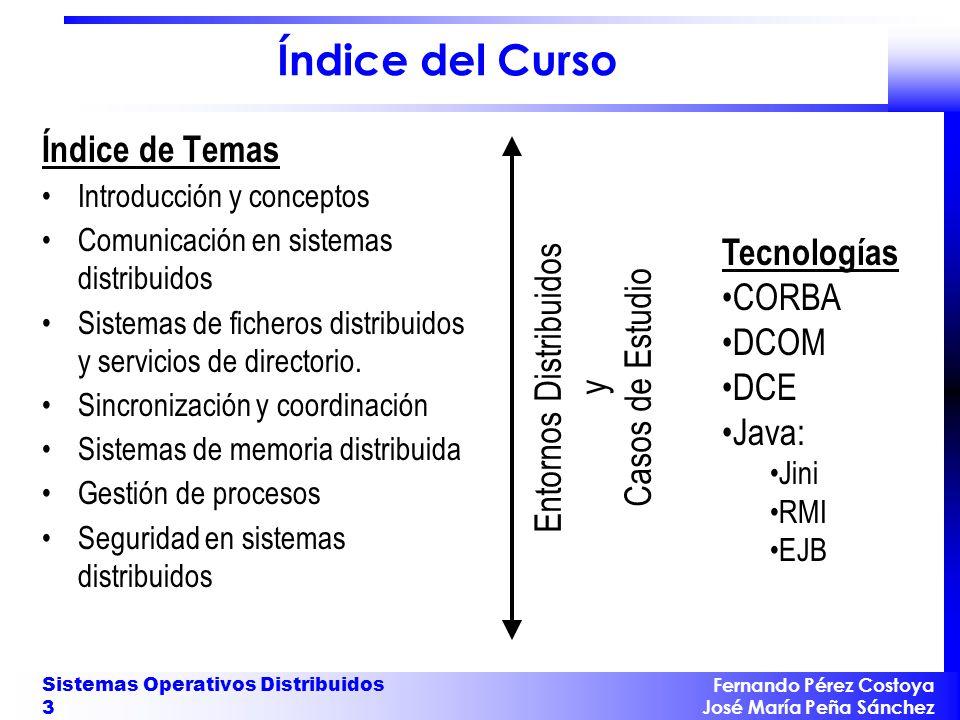 Fernando Pérez Costoya José María Peña Sánchez Sistemas Operativos Distribuidos 3 Índice del Curso Índice de Temas Introducción y conceptos Comunicaci