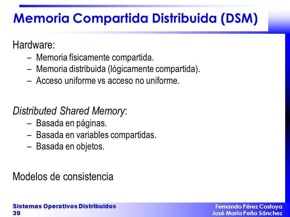 Fernando Pérez Costoya José María Peña Sánchez Sistemas Operativos Distribuidos 39 Memoria Compartida Distribuida (DSM) Hardware: –Memoria físicamente
