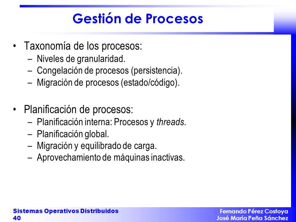 Fernando Pérez Costoya José María Peña Sánchez Sistemas Operativos Distribuidos 40 Gestión de Procesos Taxonomía de los procesos: –Niveles de granular