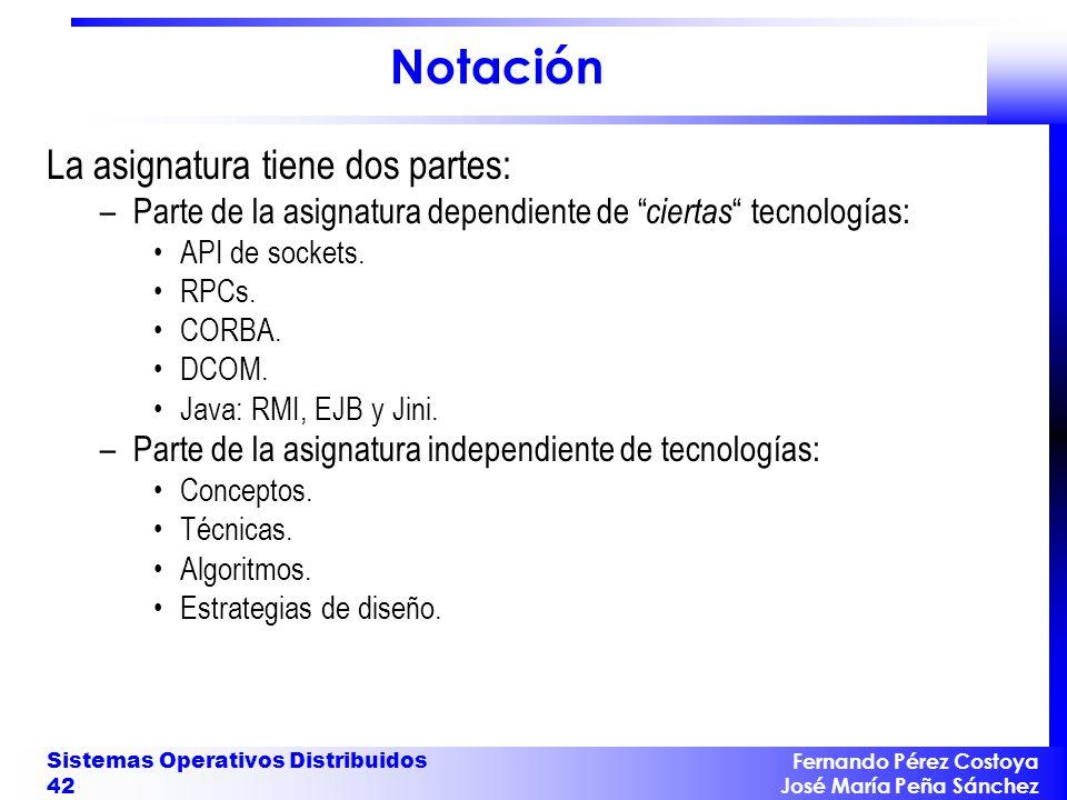 Fernando Pérez Costoya José María Peña Sánchez Sistemas Operativos Distribuidos 42 Notación La asignatura tiene dos partes: –Parte de la asignatura de