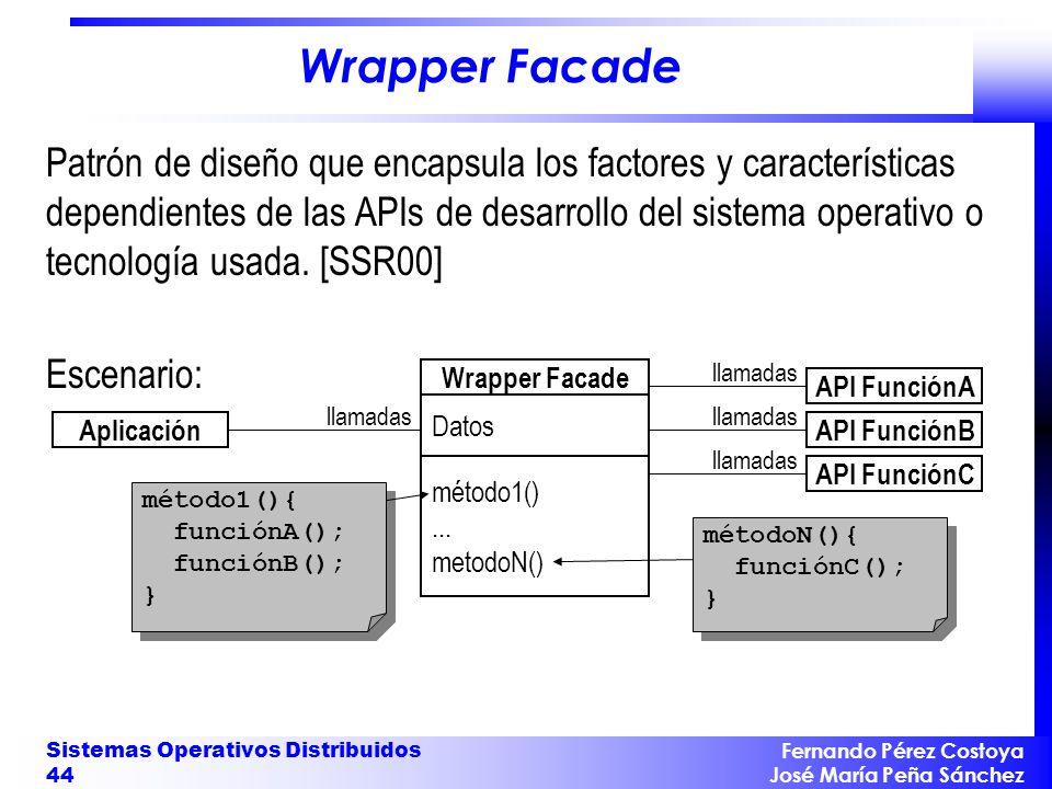 Fernando Pérez Costoya José María Peña Sánchez Sistemas Operativos Distribuidos 44 Wrapper Facade Patrón de diseño que encapsula los factores y caract