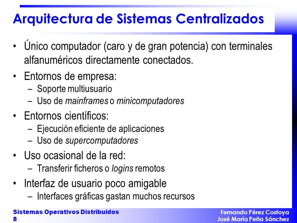 Fernando Pérez Costoya José María Peña Sánchez Sistemas Operativos Distribuidos 8 Arquitectura de Sistemas Centralizados Único computador (caro y de g