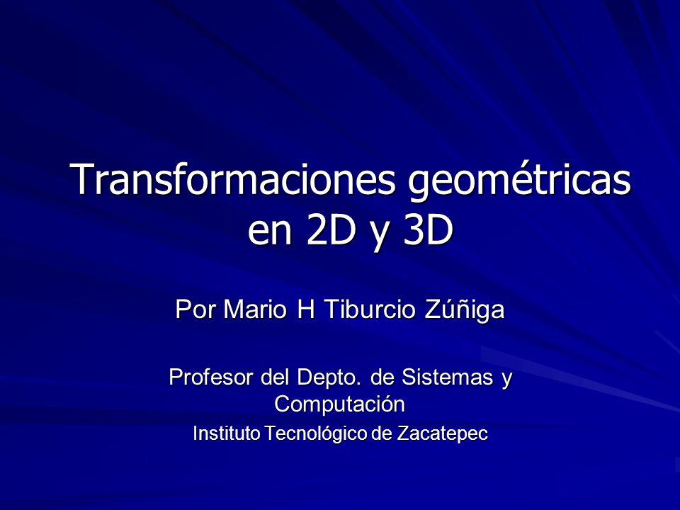 Representación matricial de transformaciones geométricas Facilita el cómputo de las transformaciones a simples multiplicaciones matriciales.