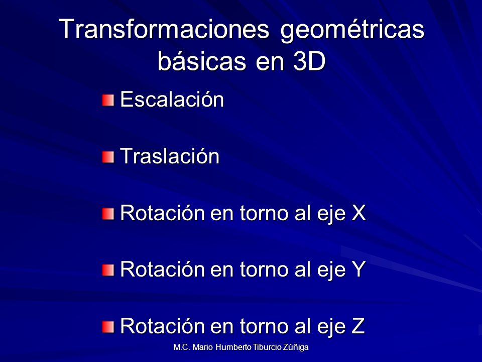 M.C. Mario Humberto Tiburcio Zúñiga Transformaciones geométricas básicas en 3D EscalaciónTraslación Rotación en torno al eje X Rotación en torno al ej