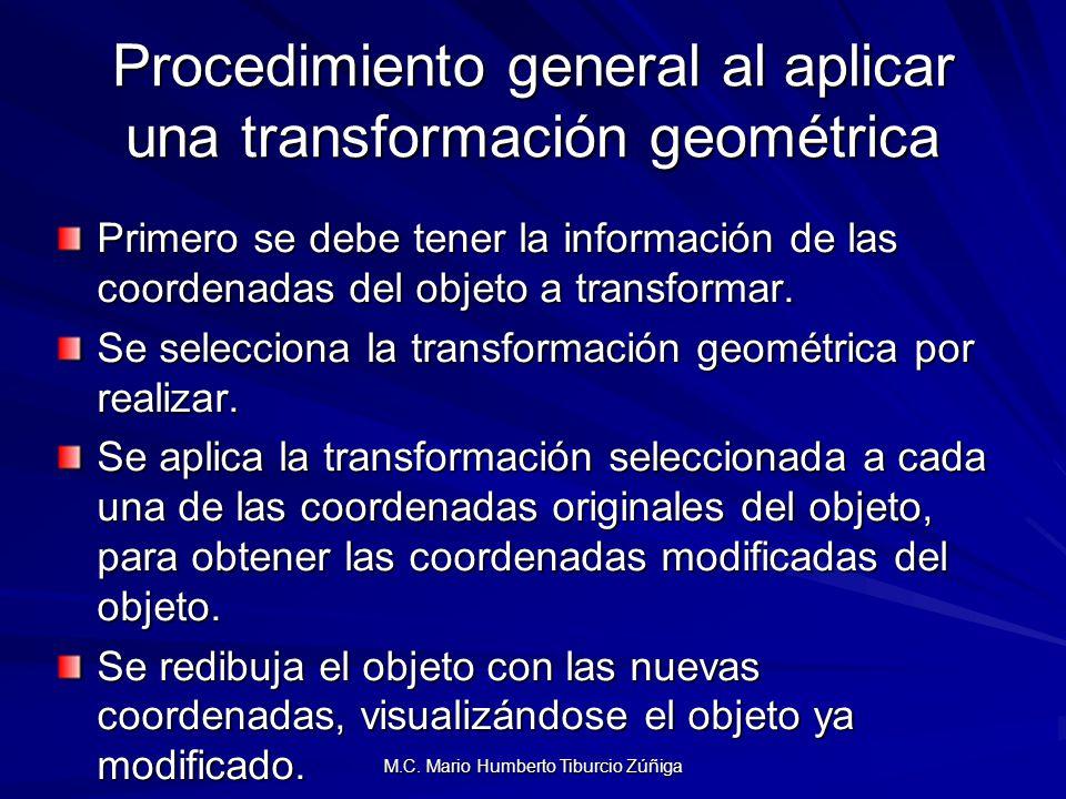 M.C. Mario Humberto Tiburcio Zúñiga Procedimiento general al aplicar una transformación geométrica Primero se debe tener la información de las coorden