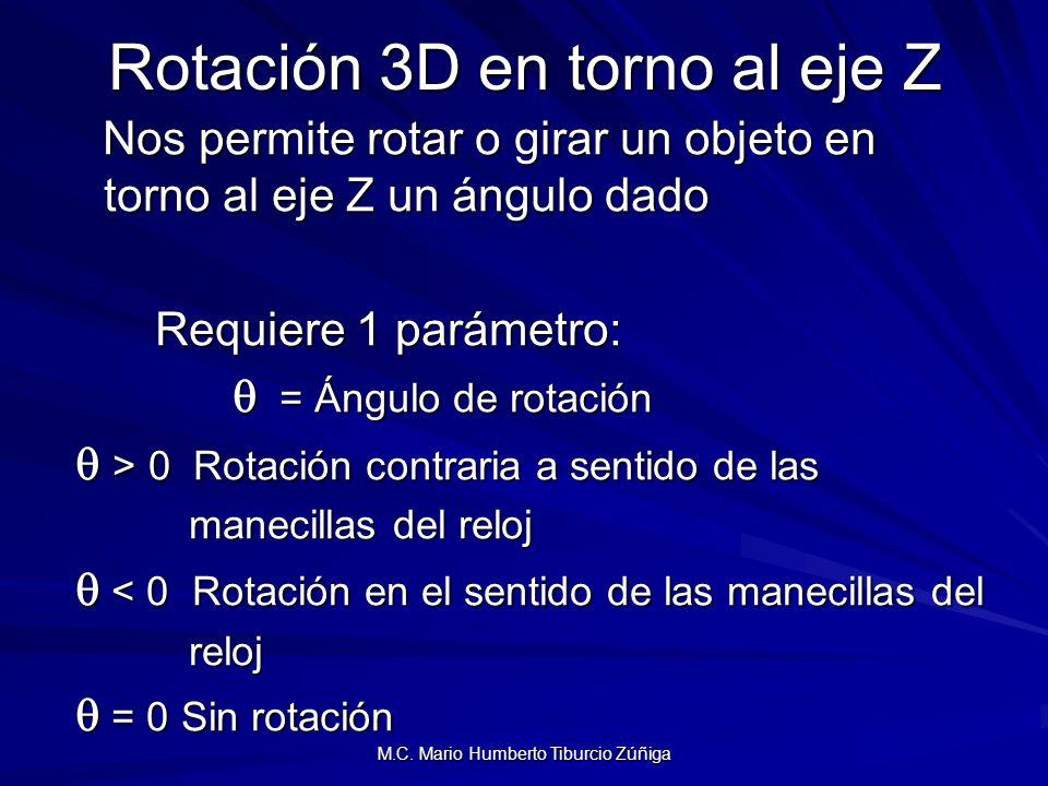 Rotación 3D en torno al eje Z Nos permite rotar o girar un objeto en torno al eje Z un ángulo dado Nos permite rotar o girar un objeto en torno al eje