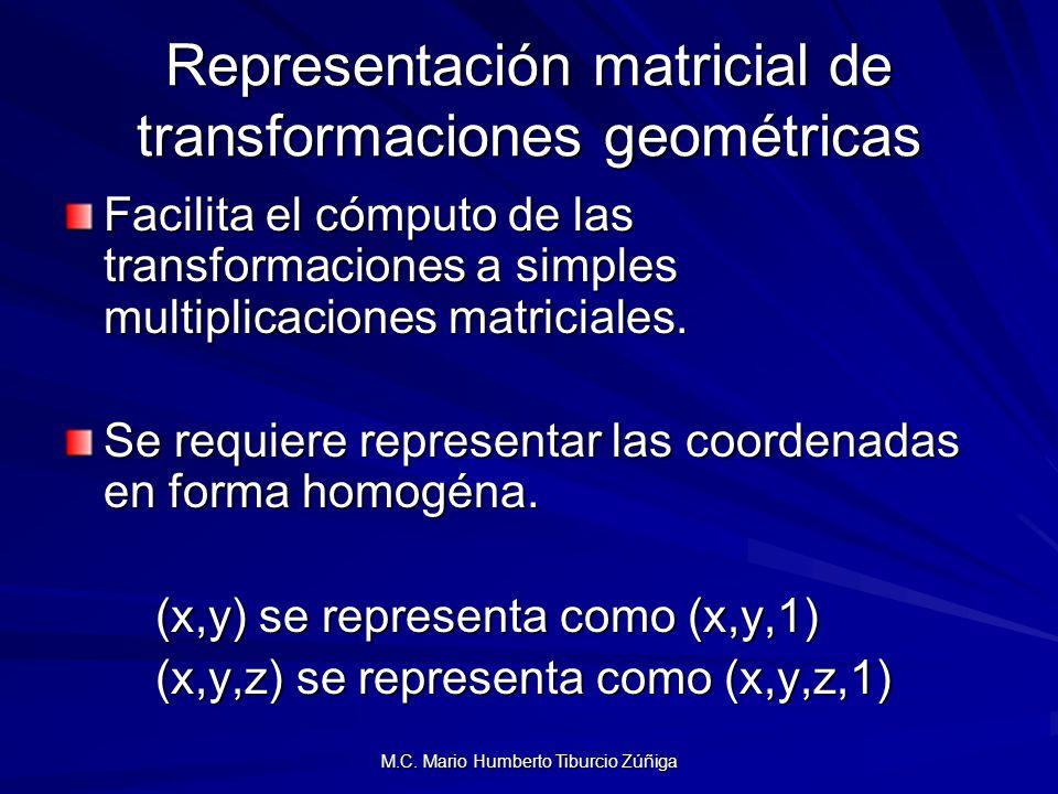 Representación matricial de transformaciones geométricas Facilita el cómputo de las transformaciones a simples multiplicaciones matriciales. Se requie