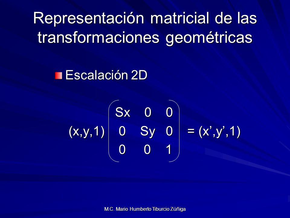 M.C. Mario Humberto Tiburcio Zúñiga Representación matricial de las transformaciones geométricas Escalación 2D Sx 0 0 Sx 0 0 (x,y,1) 0 Sy 0 = (x,y,1)