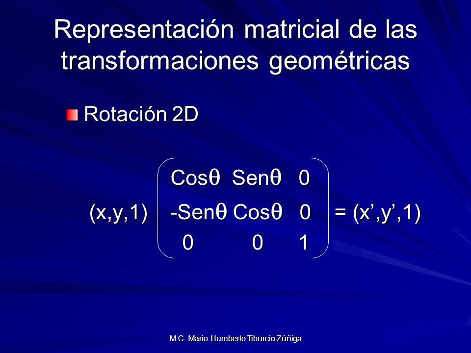 M.C. Mario Humberto Tiburcio Zúñiga Representación matricial de las transformaciones geométricas Rotación 2D Cos Sen 0 Cos Sen 0 (x,y,1) -Sen Cos 0 =