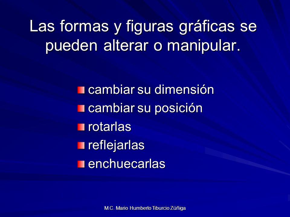 M.C. Mario Humberto Tiburcio Zúñiga Las formas y figuras gráficas se pueden alterar o manipular. cambiar su dimensión cambiar su posición rotarlasrefl