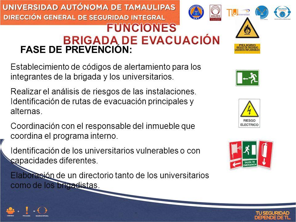 FASE DE PREVENCIÓN: Establecimiento de códigos de alertamiento para los integrantes de la brigada y los universitarios.