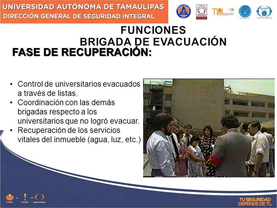 FASE DE RECUPERACIÓN: Control de universitarios evacuados a través de listas.
