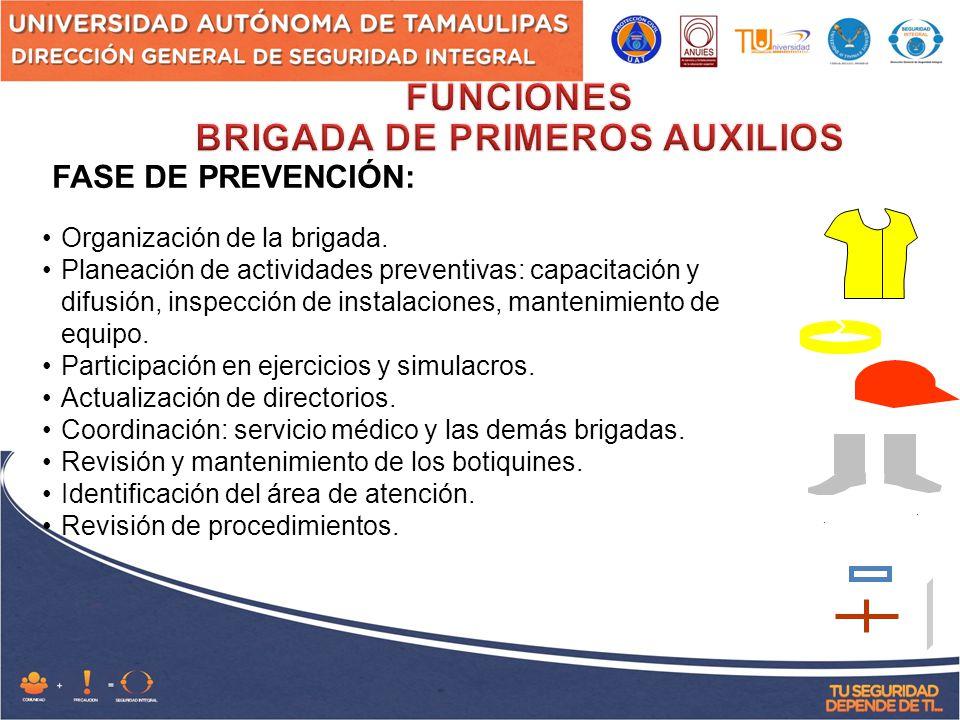 FASE DE PREVENCIÓN: Organización de la brigada.