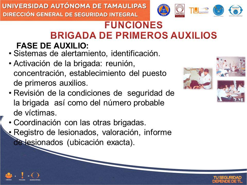 FASE DE AUXILIO: Sistemas de alertamiento, identificación.