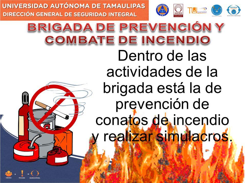 Dentro de las actividades de la brigada está la de prevención de conatos de incendio y realizar simulacros.