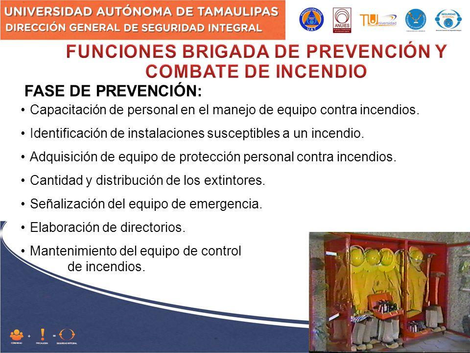 FASE DE PREVENCIÓN: Capacitación de personal en el manejo de equipo contra incendios.