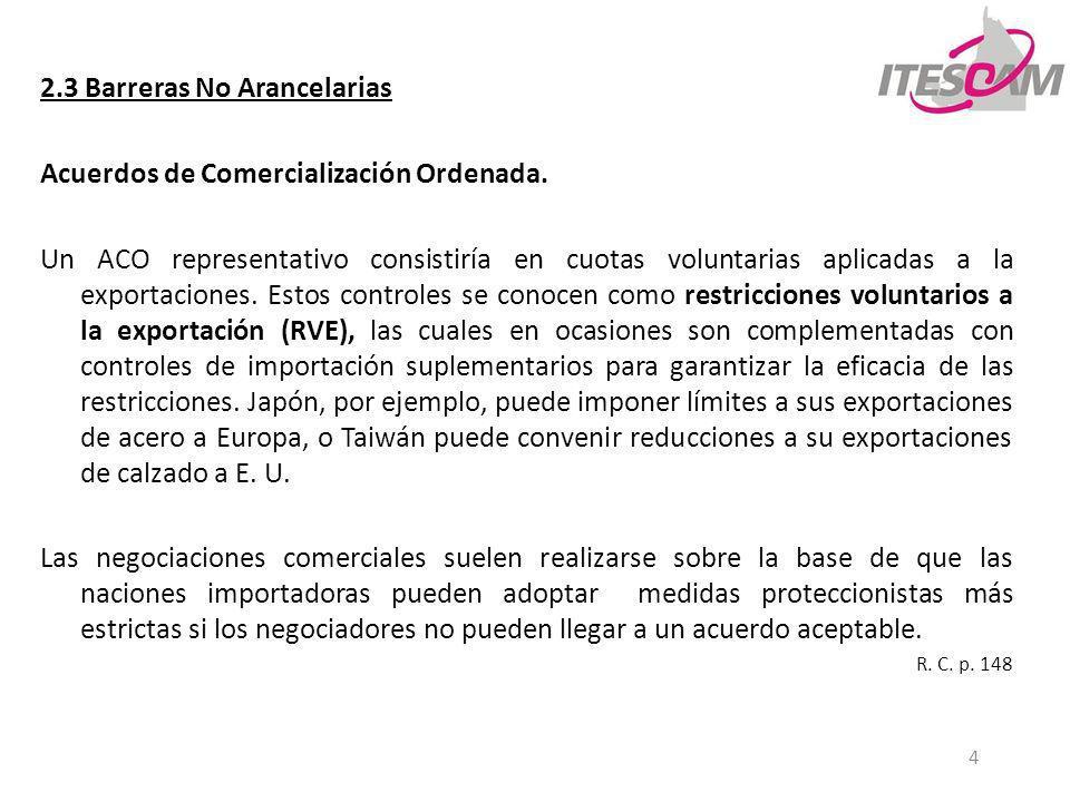 4 2.3 Barreras No Arancelarias Acuerdos de Comercialización Ordenada. Un ACO representativo consistiría en cuotas voluntarias aplicadas a la exportaci