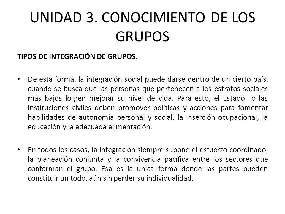 UNIDAD 3. CONOCIMIENTO DE LOS GRUPOS TIPOS DE INTEGRACIÓN DE GRUPOS. De esta forma, la integración social puede darse dentro de un cierto país, cuando