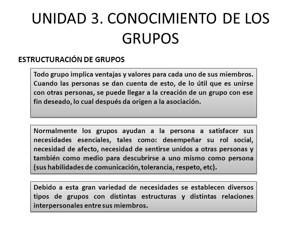UNIDAD 3. CONOCIMIENTO DE LOS GRUPOS ESTRUCTURACIÓN DE GRUPOS Todo grupo implica ventajas y valores para cada uno de sus miembros. Cuando las personas