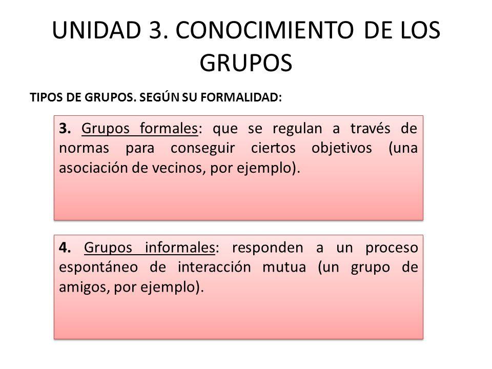 UNIDAD 3. CONOCIMIENTO DE LOS GRUPOS TIPOS DE GRUPOS. SEGÚN SU FORMALIDAD: 3. Grupos formales: que se regulan a través de normas para conseguir cierto