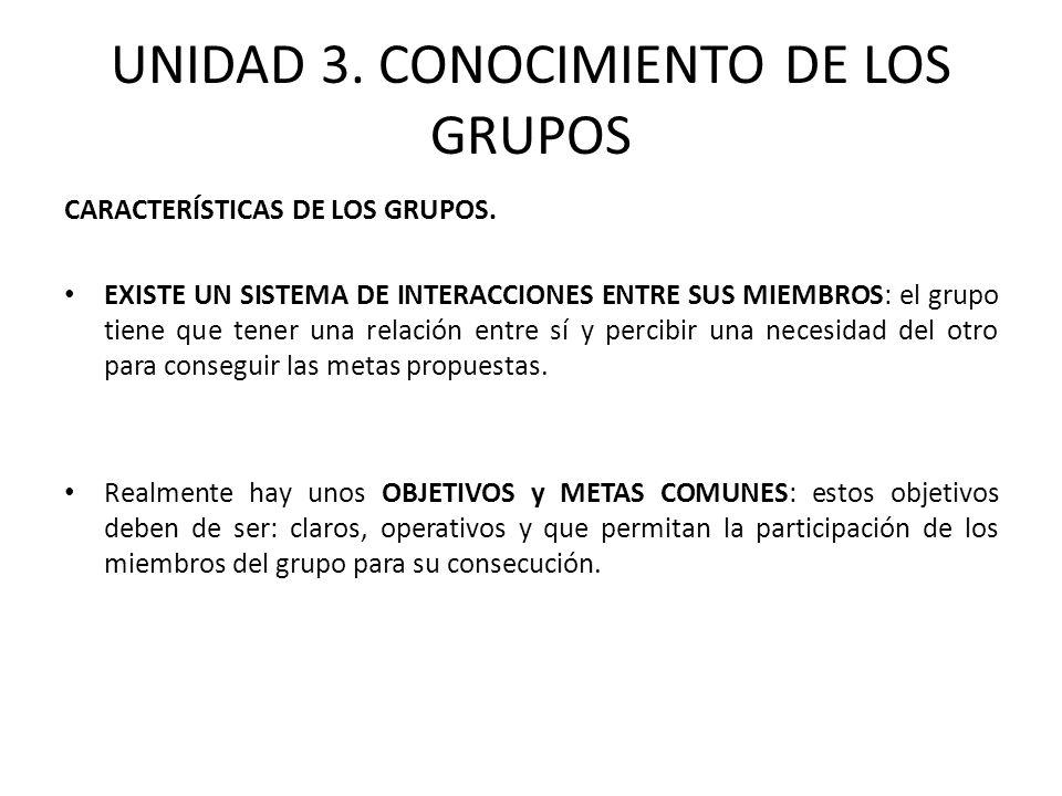 UNIDAD 3. CONOCIMIENTO DE LOS GRUPOS CARACTERÍSTICAS DE LOS GRUPOS. EXISTE UN SISTEMA DE INTERACCIONES ENTRE SUS MIEMBROS: el grupo tiene que tener un