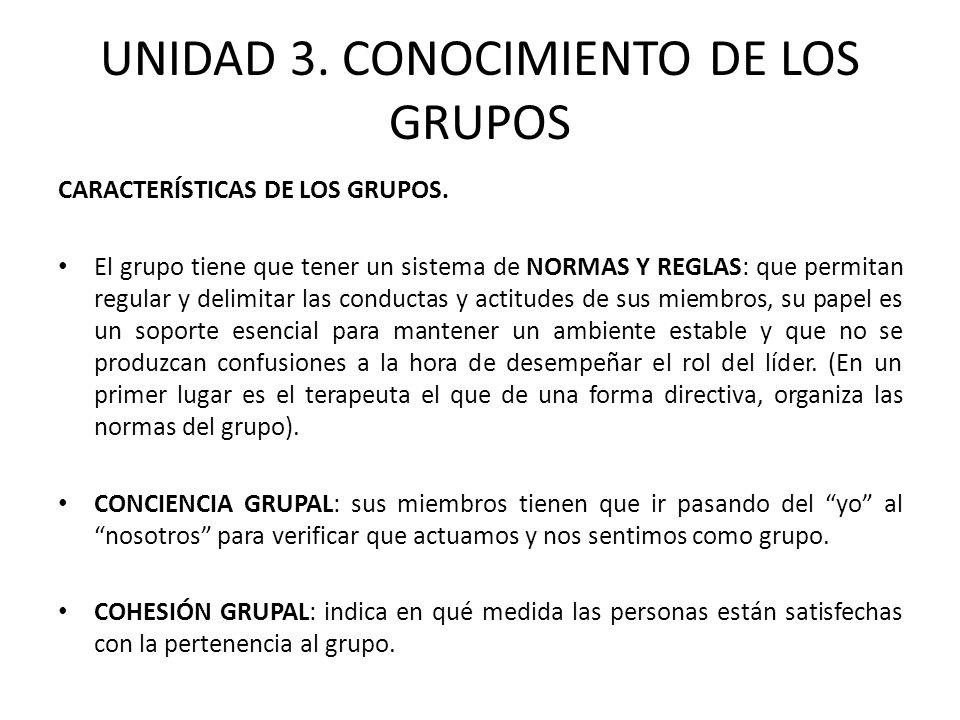 UNIDAD 3.CONOCIMIENTO DE LOS GRUPOS INTEGRACIÓN DE GRUPOS.