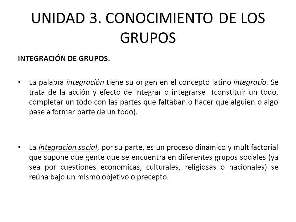 UNIDAD 3. CONOCIMIENTO DE LOS GRUPOS INTEGRACIÓN DE GRUPOS. La palabra integración tiene su origen en el concepto latino integratĭo. Se trata de la ac