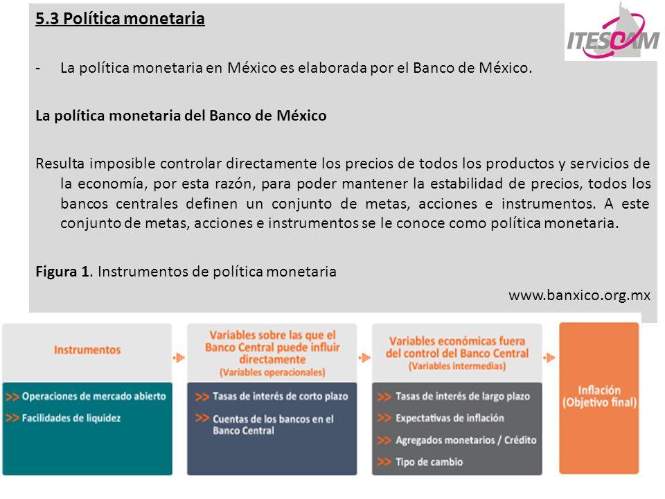 1 5.3 Política monetaria -La política monetaria en México es elaborada por el Banco de México. La política monetaria del Banco de México Resulta impos