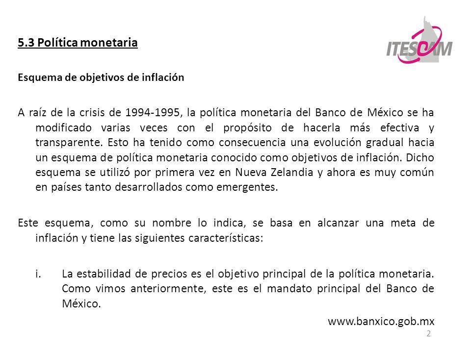 2 5.3 Política monetaria Esquema de objetivos de inflación A raíz de la crisis de 1994-1995, la política monetaria del Banco de México se ha modificad