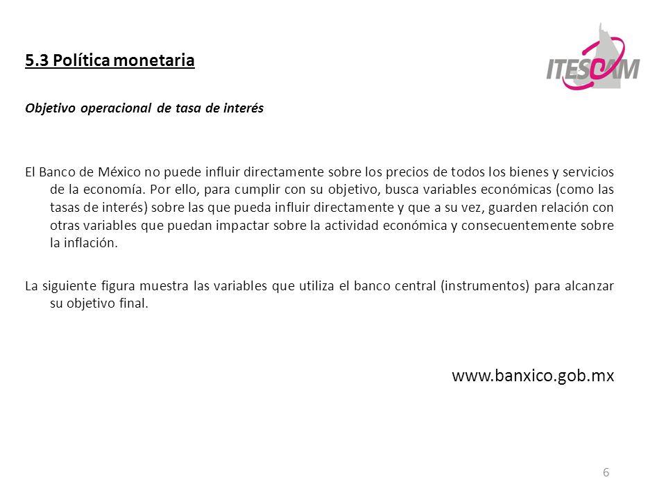 6 5.3 Política monetaria Objetivo operacional de tasa de interés El Banco de México no puede influir directamente sobre los precios de todos los biene