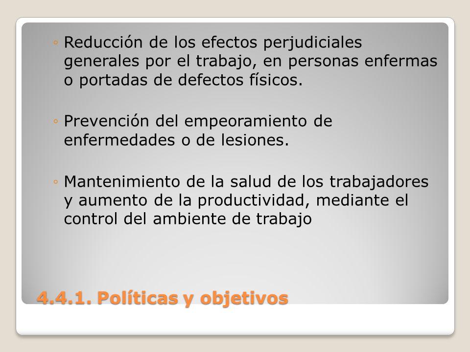 4.4.1. Políticas y objetivos 4.4.1. Políticas y objetivos Reducción de los efectos perjudiciales generales por el trabajo, en personas enfermas o port