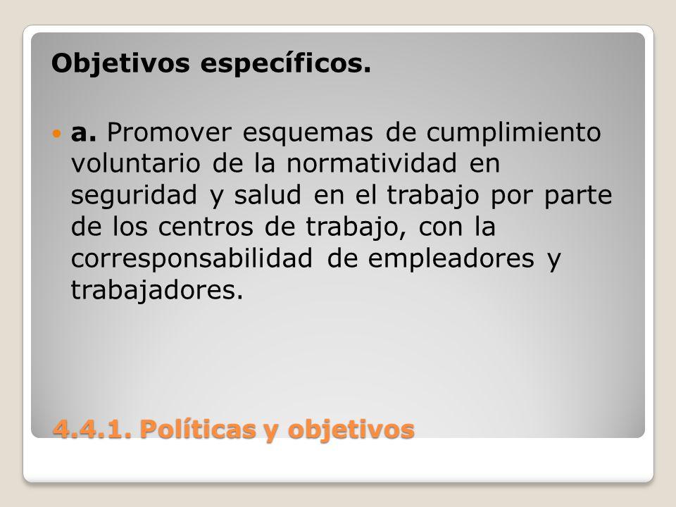 4.4.1. Políticas y objetivos 4.4.1. Políticas y objetivos Objetivos específicos. a. Promover esquemas de cumplimiento voluntario de la normatividad en