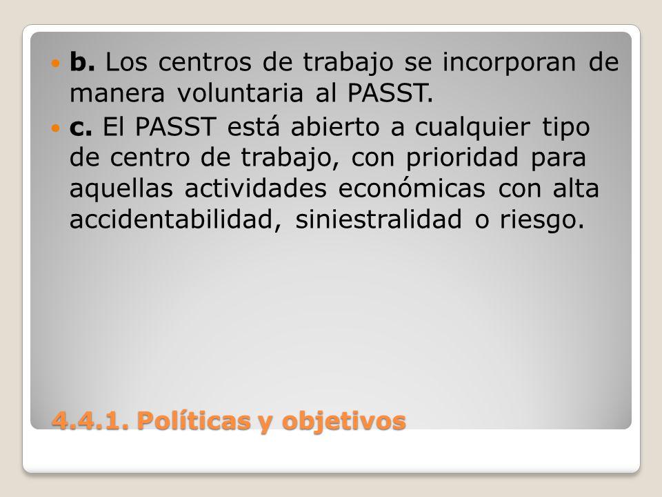 4.4.1. Políticas y objetivos 4.4.1. Políticas y objetivos b. Los centros de trabajo se incorporan de manera voluntaria al PASST. c. El PASST está abie