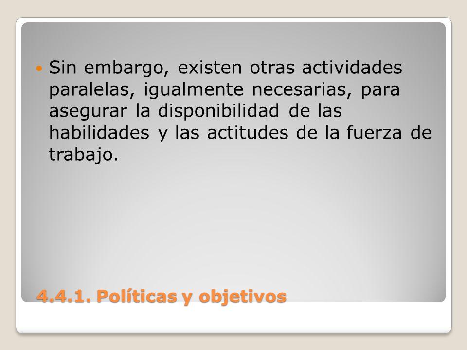 4.4.1. Políticas y objetivos 4.4.1. Políticas y objetivos Sin embargo, existen otras actividades paralelas, igualmente necesarias, para asegurar la di