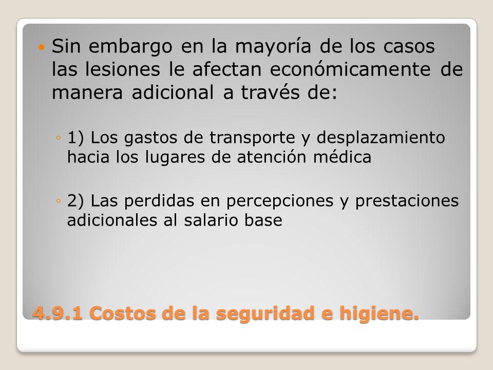 4.9.1 Costos de la seguridad e higiene. Sin embargo en la mayoría de los casos las lesiones le afectan económicamente de manera adicional a través de: