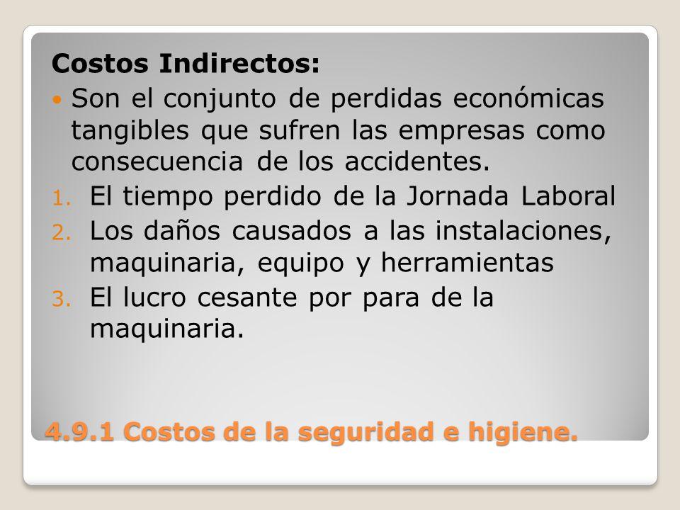 4.9.1 Costos de la seguridad e higiene. Costos Indirectos: Son el conjunto de perdidas económicas tangibles que sufren las empresas como consecuencia