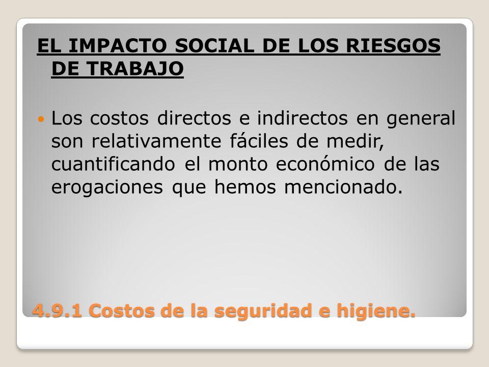 4.9.1 Costos de la seguridad e higiene. EL IMPACTO SOCIAL DE LOS RIESGOS DE TRABAJO Los costos directos e indirectos en general son relativamente fáci