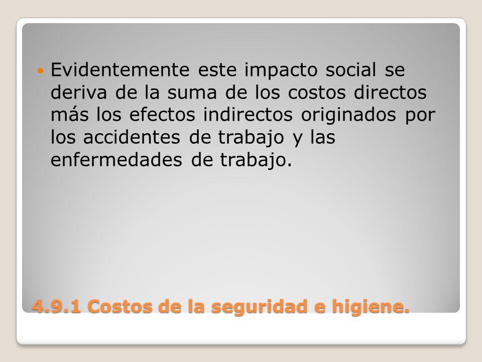 4.9.1 Costos de la seguridad e higiene. Evidentemente este impacto social se deriva de la suma de los costos directos más los efectos indirectos origi