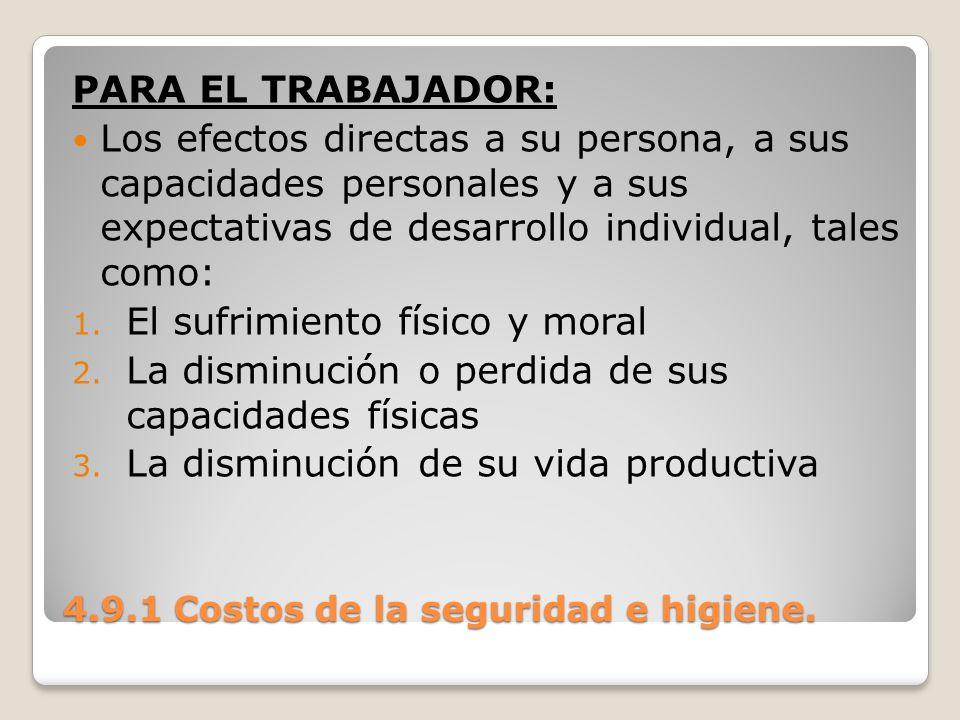 4.9.1 Costos de la seguridad e higiene. PARA EL TRABAJADOR: Los efectos directas a su persona, a sus capacidades personales y a sus expectativas de de