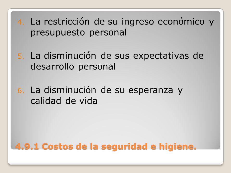 4.9.1 Costos de la seguridad e higiene. 4. La restricción de su ingreso económico y presupuesto personal 5. La disminución de sus expectativas de desa