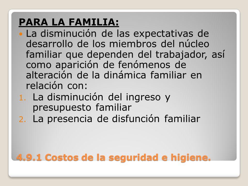 4.9.1 Costos de la seguridad e higiene. PARA LA FAMILIA: La disminución de las expectativas de desarrollo de los miembros del núcleo familiar que depe