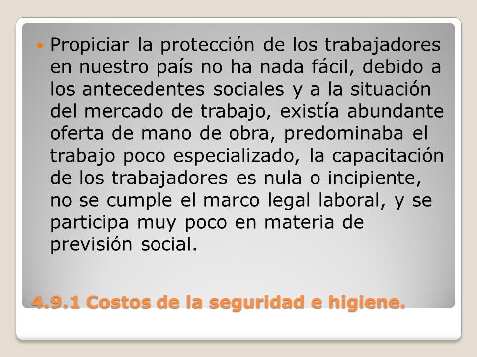 4.9.1 Costos de la seguridad e higiene. Propiciar la protección de los trabajadores en nuestro país no ha nada fácil, debido a los antecedentes social