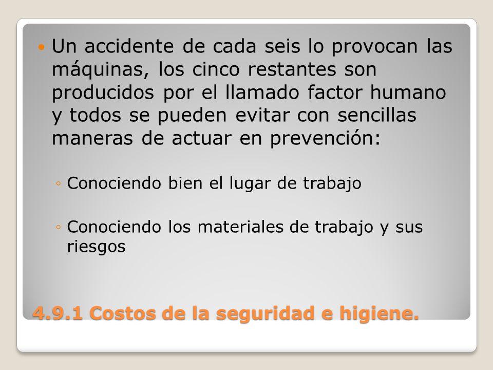 4.9.1 Costos de la seguridad e higiene. Un accidente de cada seis lo provocan las máquinas, los cinco restantes son producidos por el llamado factor h