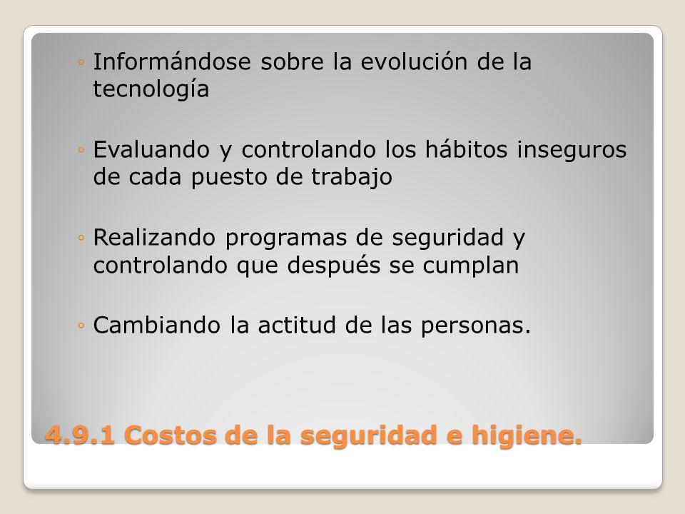 4.9.1 Costos de la seguridad e higiene. Informándose sobre la evolución de la tecnología Evaluando y controlando los hábitos inseguros de cada puesto